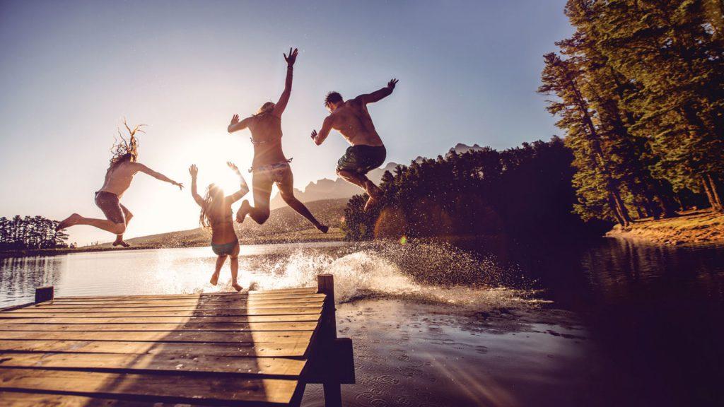 jumping into a lake