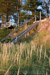 stairs down to the shoreline